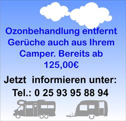 Info um Gerüche im Camper mit Ozonbehandlung zu entfernen